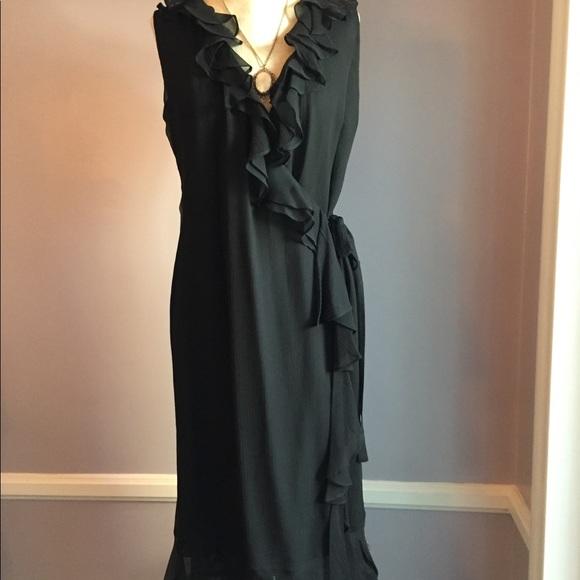Alfani Dresses & Skirts - 100% silk Alfani wrap dress with ruffle trim